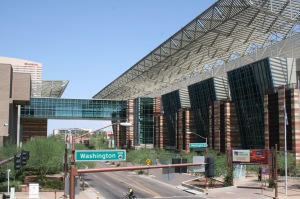 The Phoenix Convention Center looking northward toward the Sheraton Hotel.